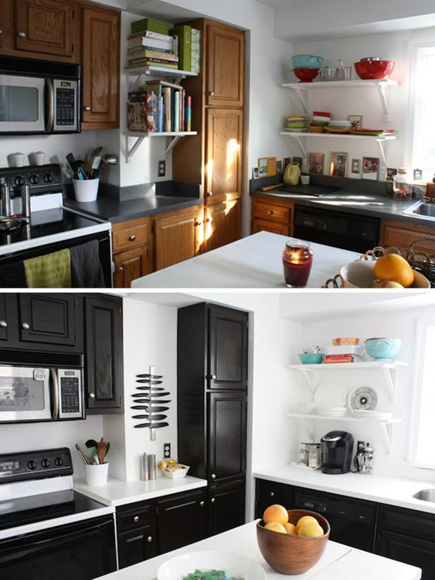 kitchen, design on a budget, painted cabinets