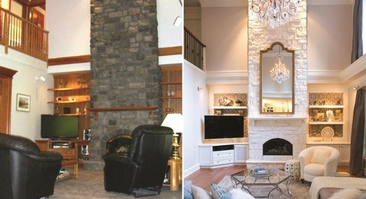 new fireplace, updated fireplace, face lift, new lighting, light fixture, living room, interior design, ideal organizers, bright colors, white paint, recliner