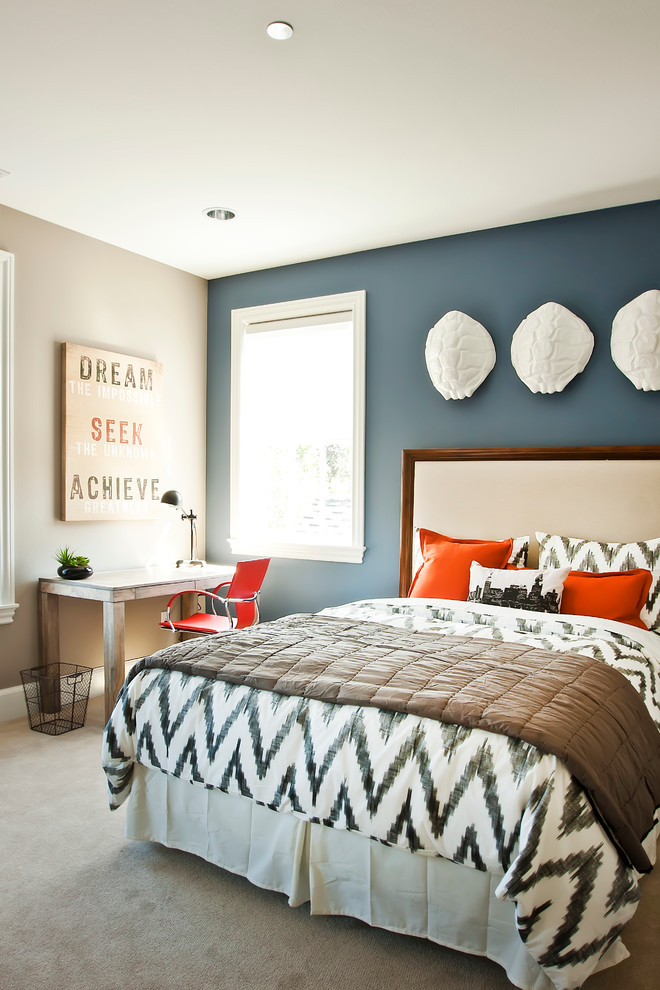 accent wall in bold deep blue bedroom